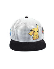 OFFICIAL NINTENDO POKEMON SUN & MOON CHARACTERS STRIPES WHITE SNAPBACK CAP (NEW)
