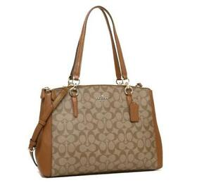 NWT COACH F58305 Christie Carryall Satchel Signature- Saddle (Retail$450.00)