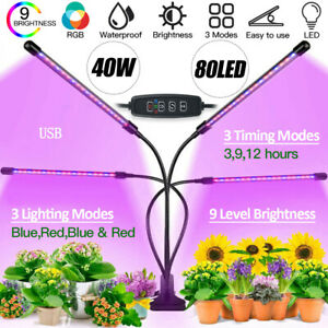 Remote Dimmable LED Grow Lights Clip Plant Garden Lamp Indoor Plant Hydroponics