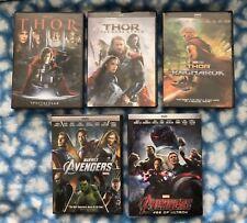 Thor Trilogy (Thor, Dark World, & Ragnarok) & Avengers 1 & 2 Bundle 5-DVD SET