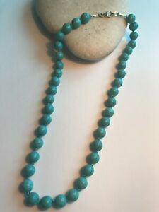 Howlite Turquoise 925 Sterling Silver Women Knotted Necklace + Gift Bag Free P&P