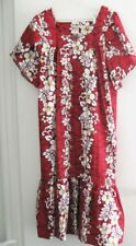 Winnie Fashion Womens Red Hawaiian Hibiscus Dress Muu Muu House Dress Sz 3XL