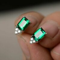 4Ct Emerald Cut Green Emerald Diamond Stud Earrings Solid 14K White Gold Finish
