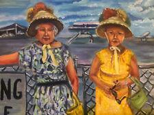 Original Art Joe Correll Acrylic On Canvas Board Fancy Hats 1960s 11x18