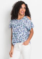 Bodyflirt Blue Ruffle Sleeve Blouse Floral Print Top Size 16 NEW