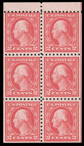 US 1916 2c CARMINE TYPE I BOOKLET PANE OF SIX MNH #463a guide line at right