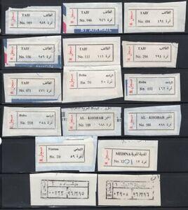 Saudi Arabia 16 Old Registered Mail Labels Baha, Taif, Al Khobar, etc