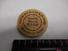 WOODEN NICKEL REID SERVICE STATION GRAYSVILLE,ALA.