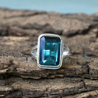 Octagon Neon Blue Apatite Quartz 925 Sterling Silver Artisan Handmade Gift Ring