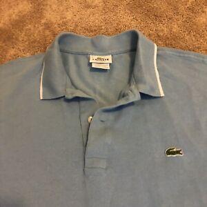 Lacoste Solid Croc Logo Cotton Men's Short Sleeve BLUE Polo Shirt ~ sz 9  EUC