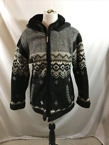 Kyber Outerwear charcoal sweater/jacket with fleece lining - womens large