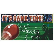 FOOTBALL BANNER Wall Backdrop Party Decorations ITS GAME TIME Play Team Room