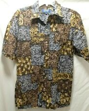 Ono Short Sleeve Aloha Hawaiian Button Front Shirt Men's Size M Brown Gray