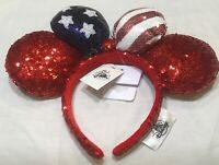 Disney Parks Sequin Americana Minnie Mouse Bow Ears Headband Red White Blue