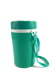 NEW Unused Drinking Thermo Beverage Container Turquoise & White with Straw