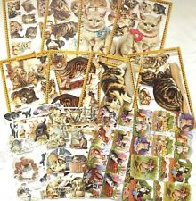 Decoupage Paper die cut scrap sheets x 12 cats
