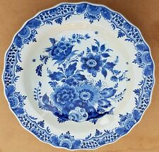 "9.8"" Vintage Dutch deep Plate Dish Wall Charger Delft Blue - Flower Design -"