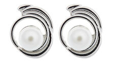 CLIP ON EARRINGS -  silver swirl stud earring with a large pearl - Viola