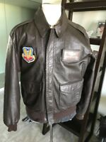 Avirex DSCP A-2 Brown Flight US Air Force Leather Jacket 44L Large Long 💎Chit!