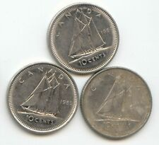Canada 1984 1985 1986 Canadian DIME Ten Cents 10c Exact Coin Set Shown ~