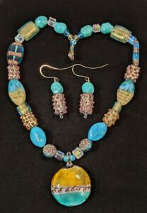 Artisan Turquoise Blue Glass Foil Dichroic Lampwork Beaded Necklace Earring Set