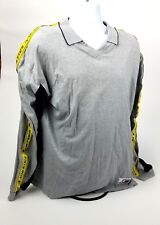 TOMMY HILFIGER Athletic V Neck Polo/T shirt Shirt Gray Flag Logo Spell Out