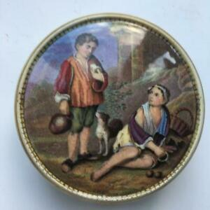 Rare Pratt Ware Medium Pot Lid + Base Peasant Boys 348 Marbled and Gold  c1860