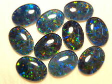VERY UNUSUAL 7x5mm OVAL CABOCHON-CUT AUSTRALIAN BLACK OPAL TRIPLET GEMSTONE