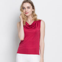 100% Silk Knit Women's Sleeveless Tank Top Cowl Neck Vest Top Blouse