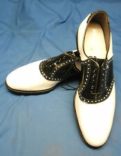 Pair of BRAND NEW FOOTJOY CLASSICS Golf Shoes W Metal Spikes Black & White 15 C