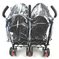 Buggy Pushchair Stroller Double Side by side Pram Clear Rain Cover Baby s B7L4