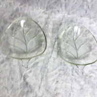 Vintage 2 Glass Leaf Candy Dish Clear Candy, Trinkets, Serving Dish Bowl 7""