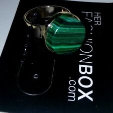 Her Fashion Box - Gold Toned Ring. Thick Band With Green Round Decorative Circle