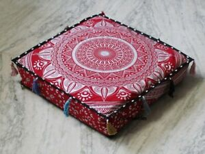 18 Inch Seating Cushion Covers, Kids Room Pillow Covers Mandala Pouf Cover
