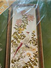 "Chrysanthemums Crewel Embroidery Kit 10"" X 24"" Vtg Leewards bird/flowers satin"
