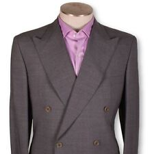 NWT BELVEST Light Gray Red Pinstripe Double Breasted Super 140's Suit 40 40r