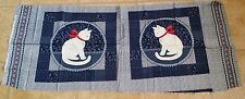 """(2) BLUE CAT PANELS - MAKE A """"Simple Treasures"""" PILLOW or QUILTED WALL HANGINGS!"""