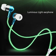 New Zipper Headphone Earphone Headset 3.5mm In-Ear Luminous Headphones Earbud