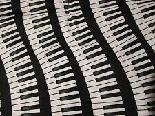 PIANO KEYBOARD WAVY MUSIC COTTON FABRIC FQ