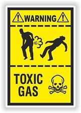 Farting Funny Sticker Toxic Gas Caution Fart Gases Bike Bumper WC Toilet Truck