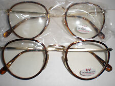 UV Eye Sun Protection Vision Care Clear Safety Glasses GOLDEN Sunglasses 2 Pair