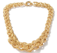 """18"""" 45gr Bold Technibond Braided Necklace Chain 14K Yellow Gold Clad 925 Silver"""