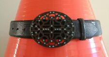 Carlisle Leather Croc Belt Dark Brown USA Medium M Filigree Buckle Blue Crystals