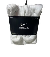 Nike Men's 6-Pair Pack White Crew Socks Cushioned  Cotton Shoe 8-12✅
