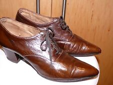 Edwardian Warm Brown Leather Pointy Toe Tie Front Walking Shoes 7