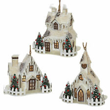 "Raz Imports 5.5"" Lighted Christmas House Ornament Set of Three (3)"