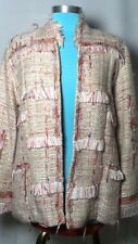 Women's - Beautiful and Funky Chic Tan & Pink Tweed Jacket, Size L