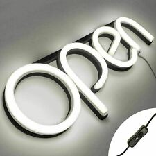 Led Neon Open Sign Light for Business with On & Off Switch - White