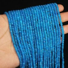"""Neon Blue Apatite Micro Faceted Rondelle Loose Gemstone Beads Strand 13"""" 4mm"""