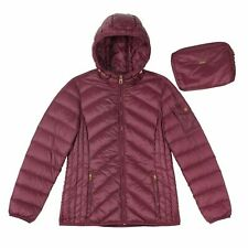 Nicole Miller women's packable hooded down jacket small burgundy